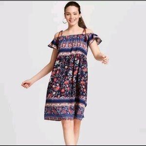 Knox Rose Floral Boho Off- Shoulder Dress Sz S